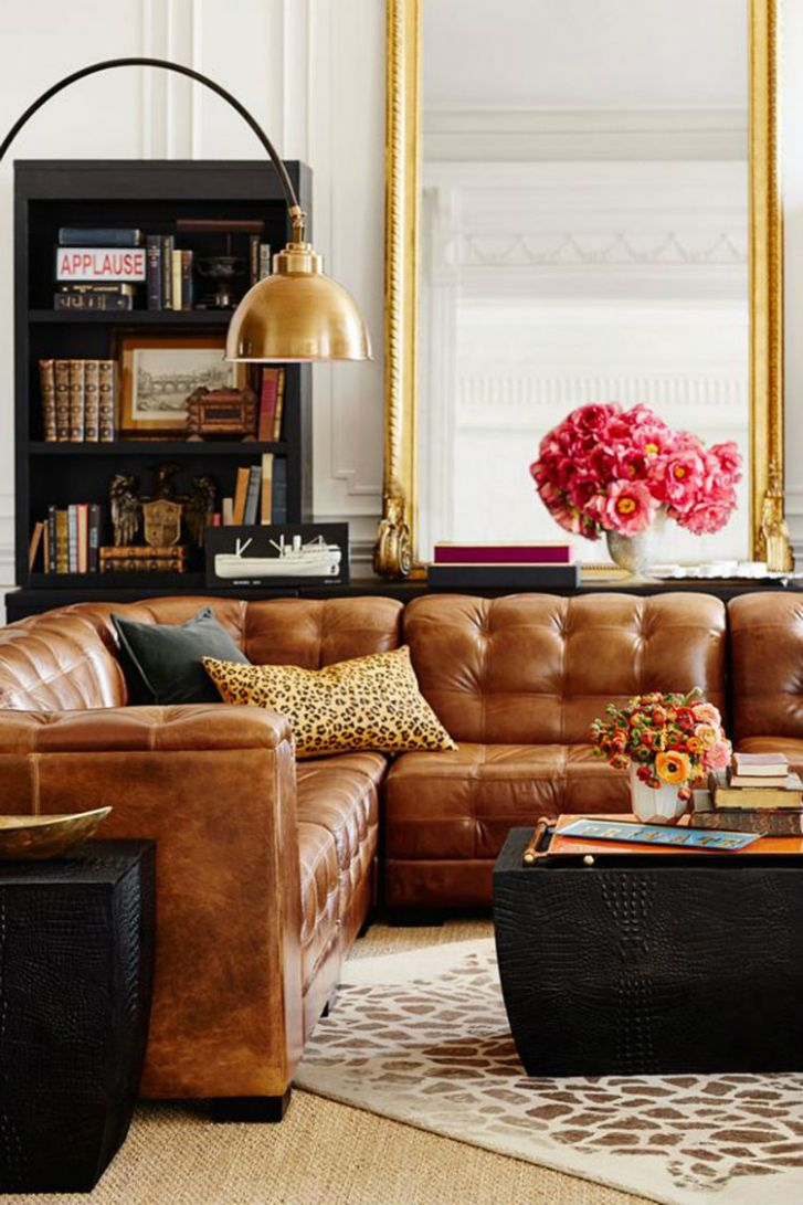 Living Room Inspiration: Tan Leather Sofa - living room ideas tan couch