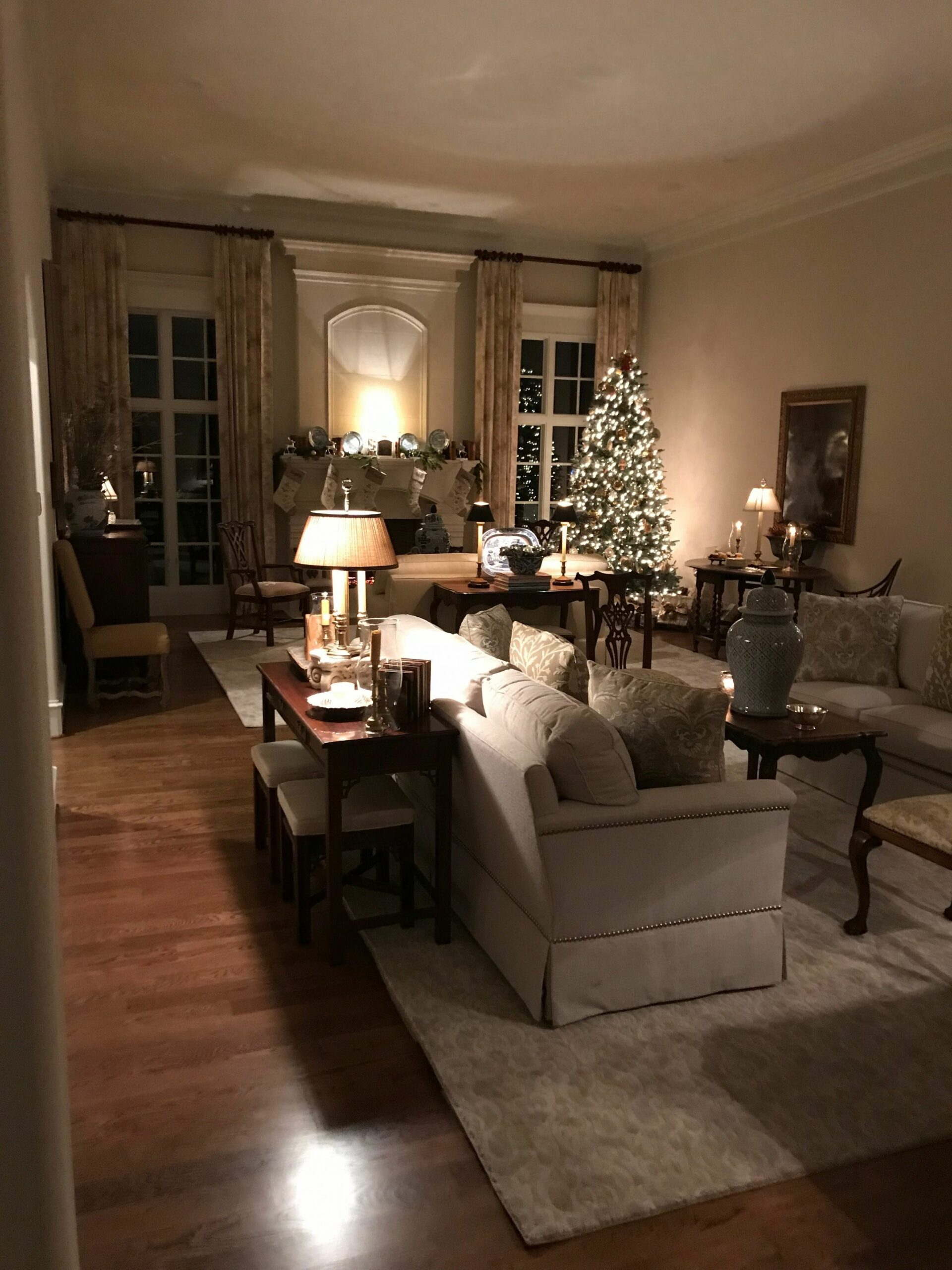 Living room night decor and please those windows facing the ..