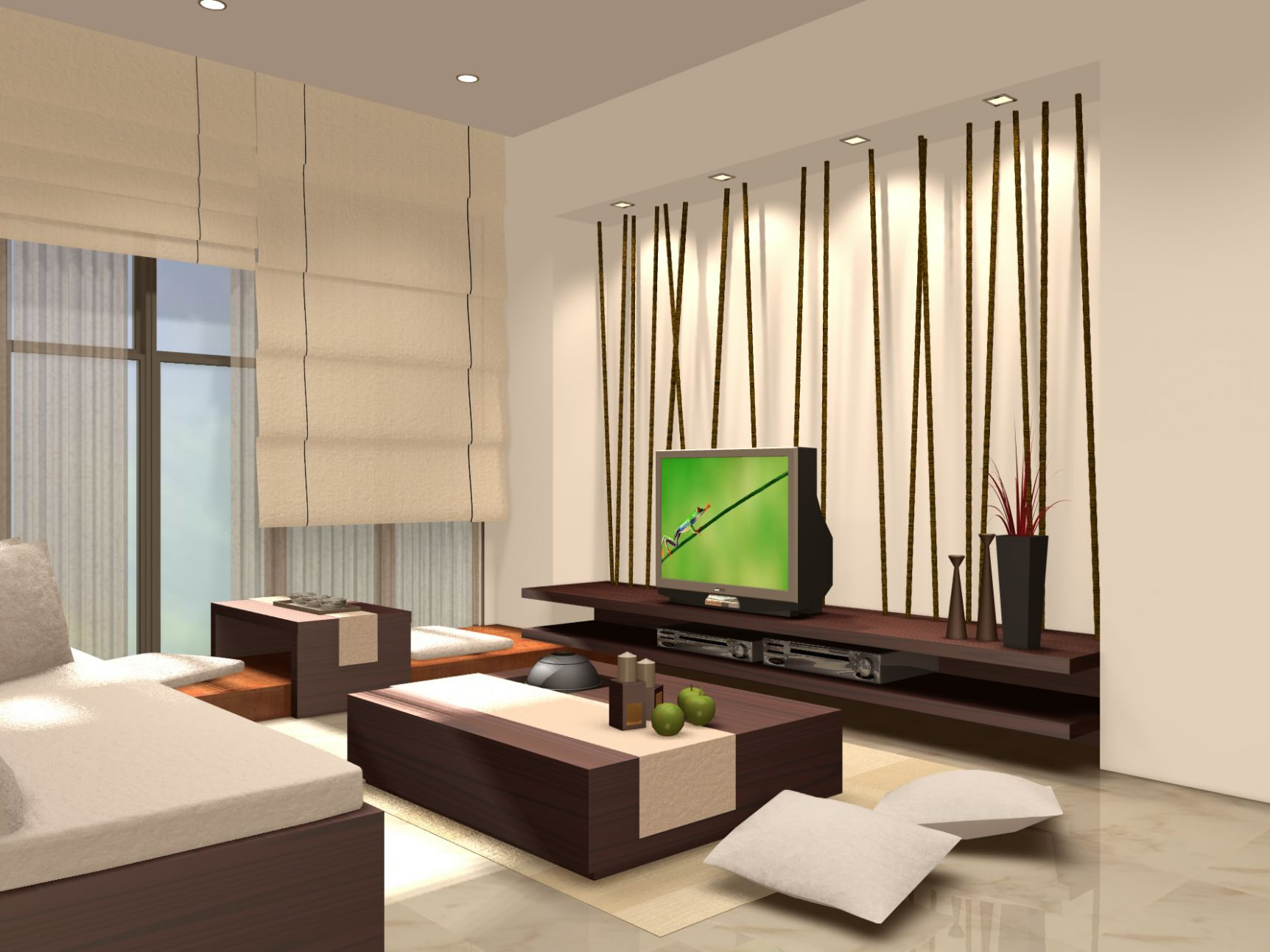 Living Room Zen Narrow Space With Black Wall Units And Small ...