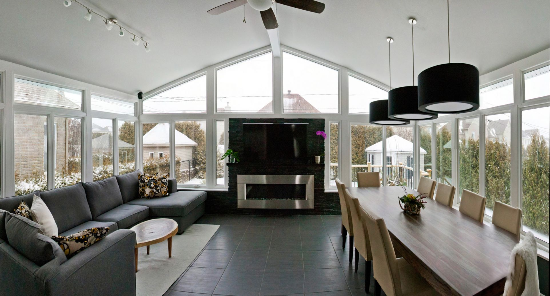 LivingSpace Helps Make a Television Room out of your Sunroom - sunroom tv ideas