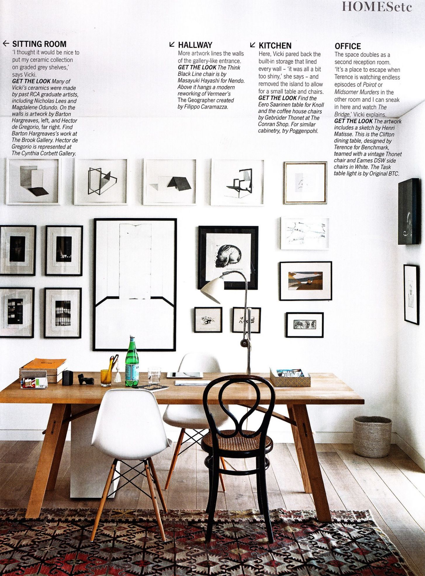 Love the framed pictures on the wall. From Living etc November ..