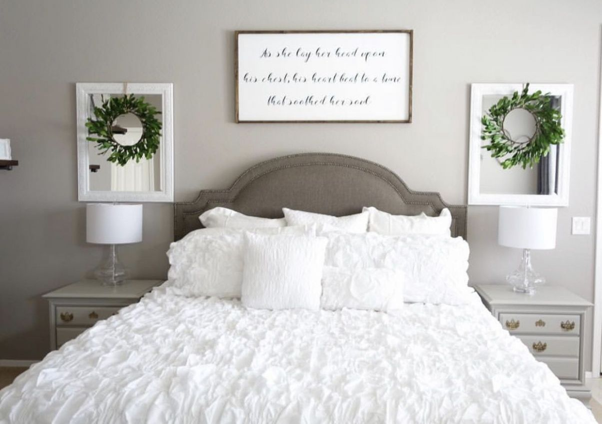 Love the sign above the bed for our wedding song lyrics! (With ...