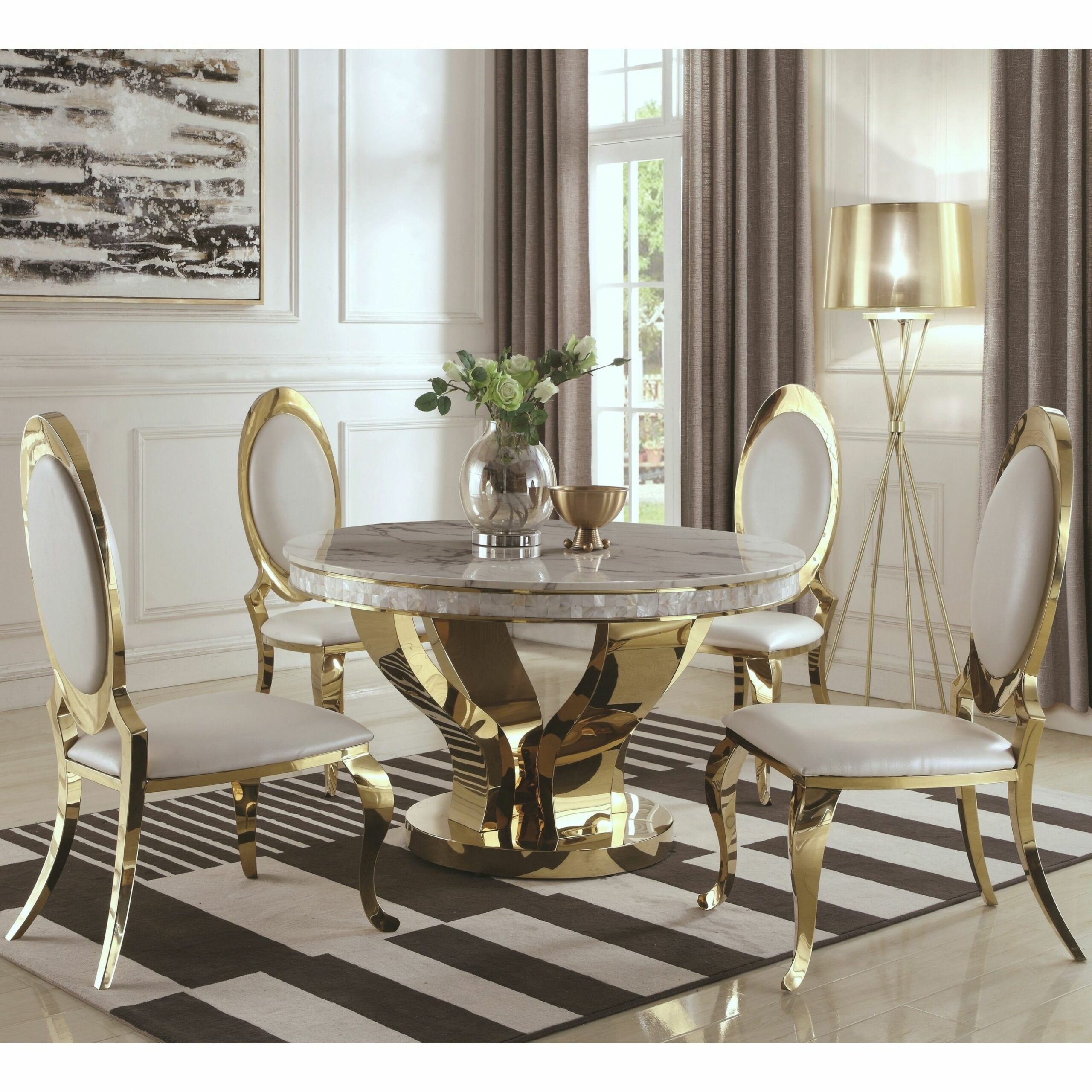 Luxurious Modern Design 9-piece Gold Dining Set with Marble Table ..