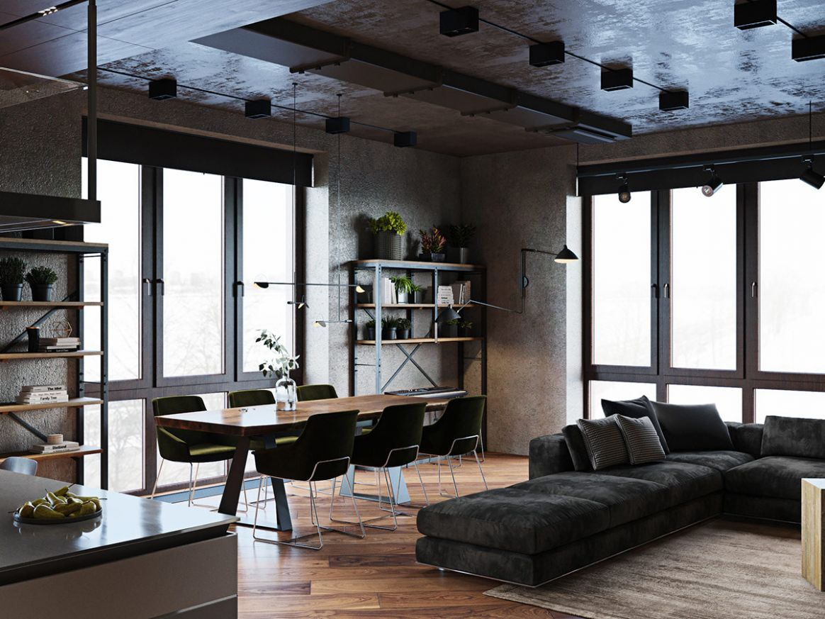 Luxury Apartment With An Industrial Vibe And A Cool Hallway - industrial apartment decor ideas
