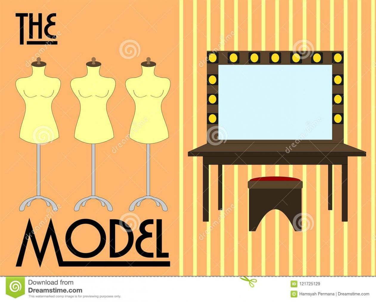Make Up And Dressing Room Vector Illustration Stock Vector ...