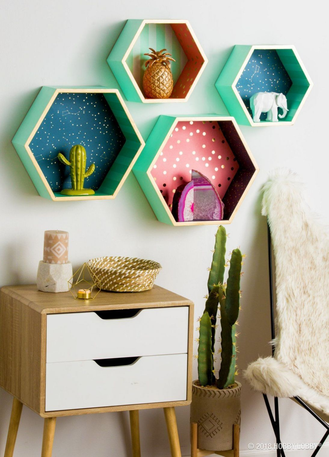 Make your shelves go from holding decor to being decor with poster ..