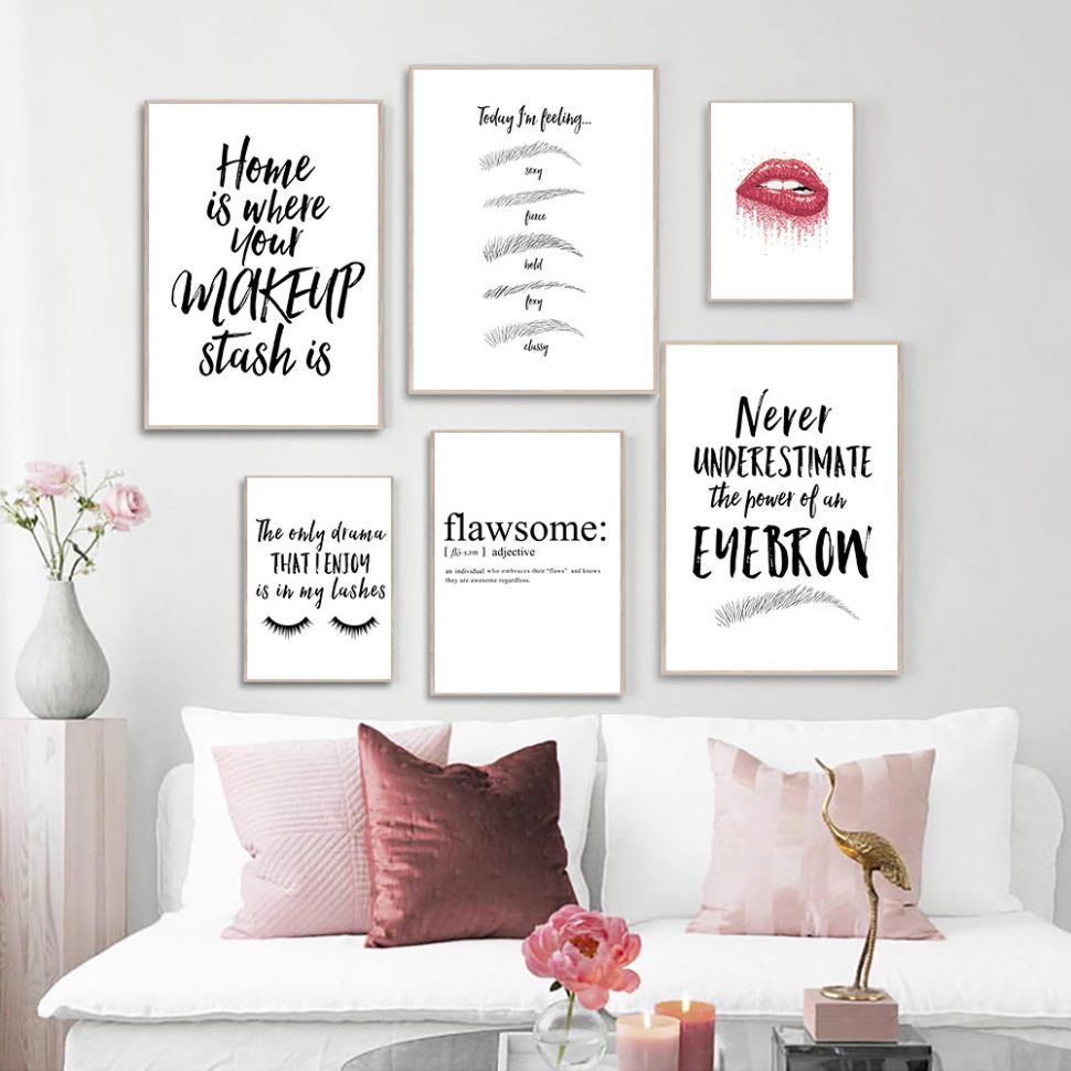 Makeup Quotes Print Painting Eyebrow Lips Eyelashes Black And White Picture  Beauty Salon Wall Art Posters Home Room Wall Decor - makeup room painting