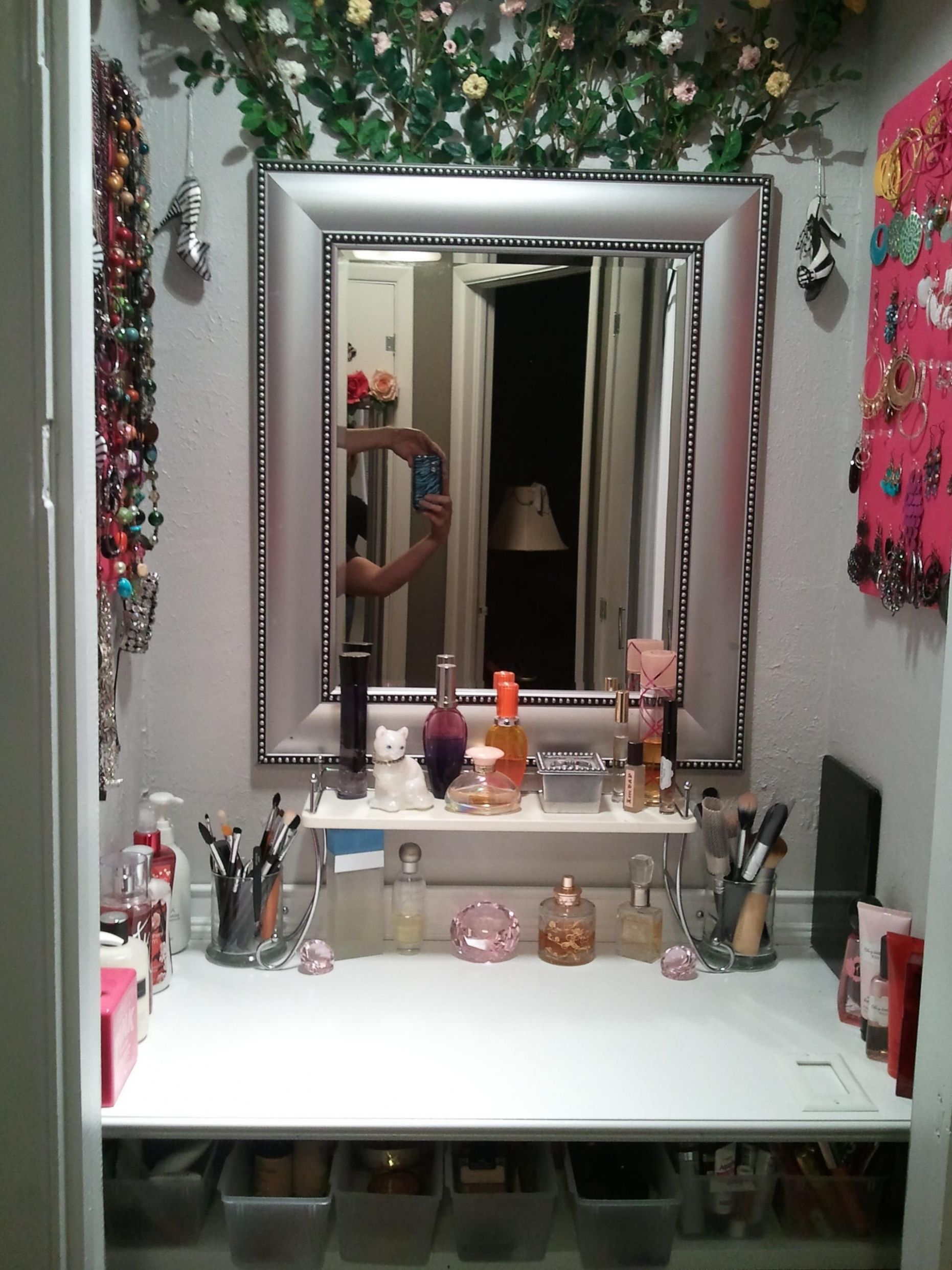 Makeup vanity I created out of a small coat closet next to my new ..