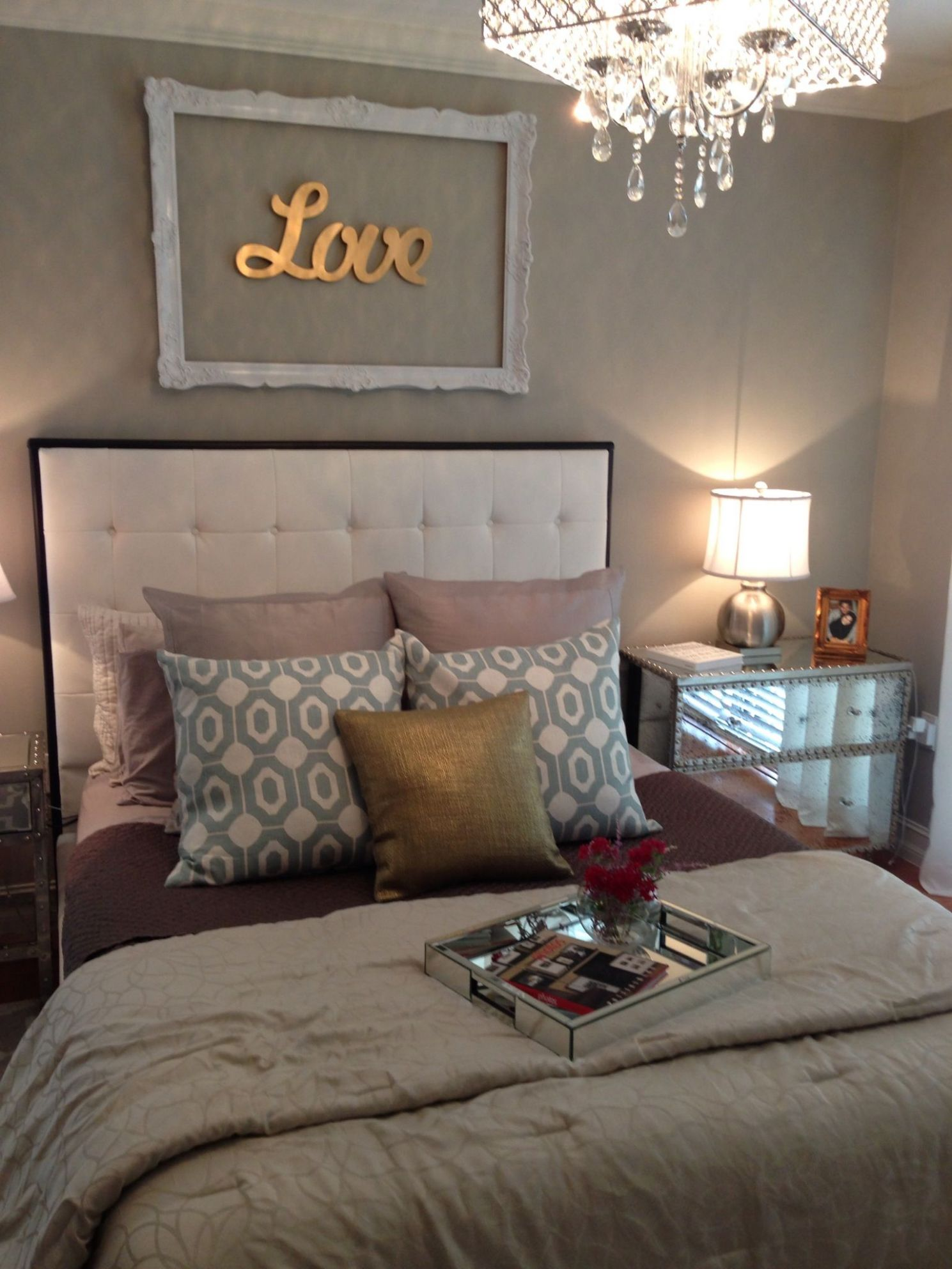 masterbedroom #glam #silver #white #gold #teal #glam #love my ..