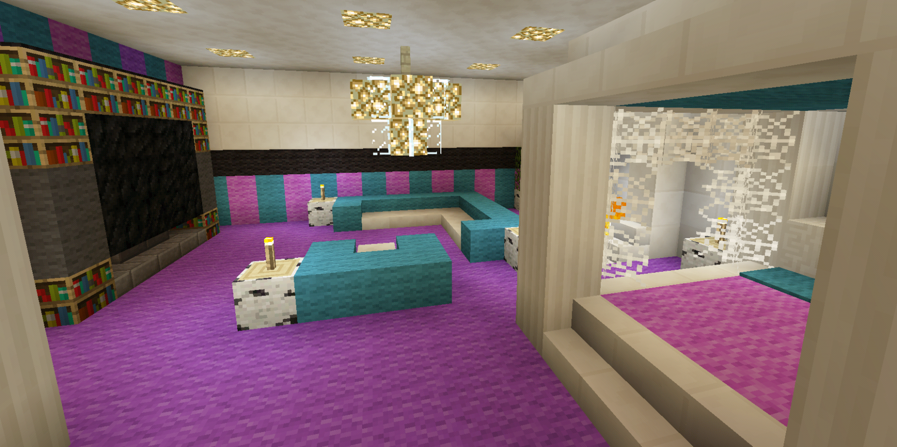 Minecraft Bedroom Pink Girl Purple Wallpaper Wall Design Canopy ..