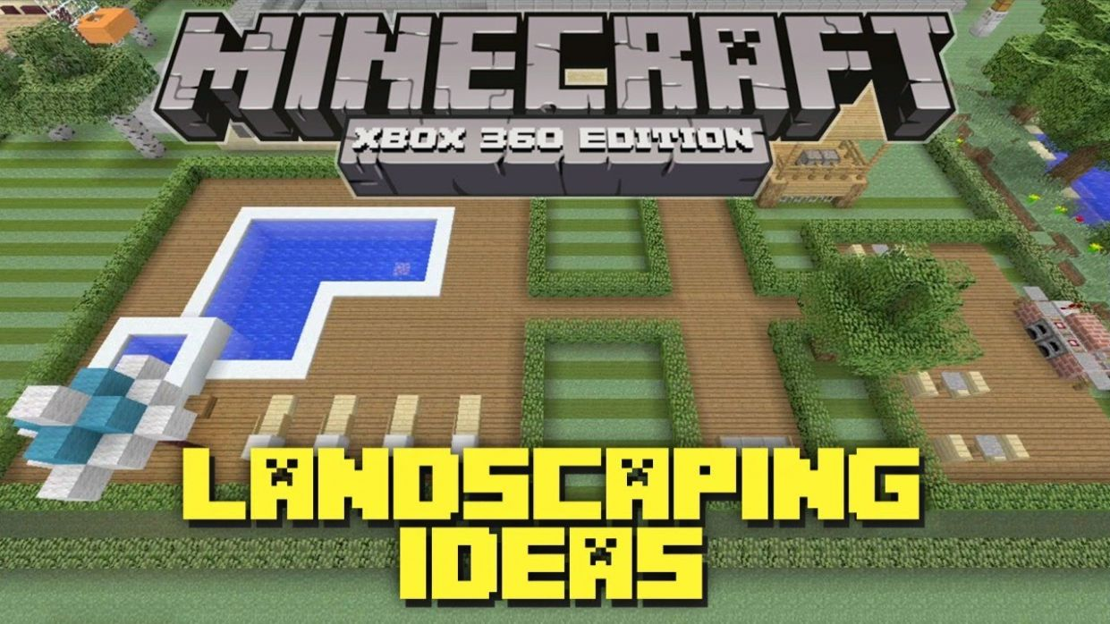 Minecraft Xbox 12: Landscaping Ideas and Tutorial! (Backyard Tutorial) - minecraft garden ideas xbox