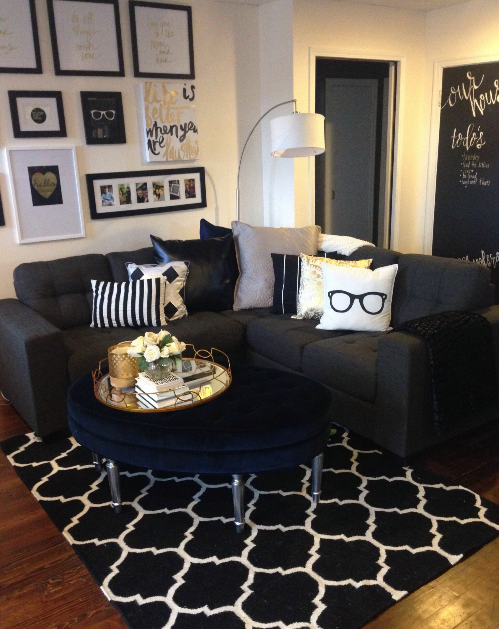 Mini living room re-do! Classic black, white, and gold with pops ..