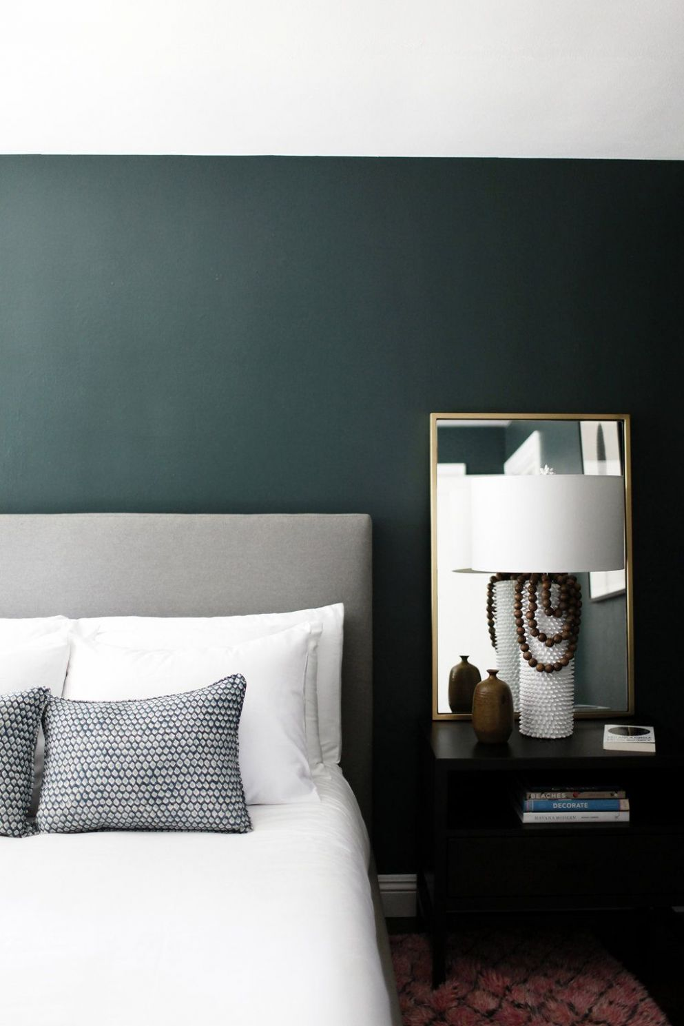 Minimalist bedroom with dark green walls - gorgeous!! Paint color ..