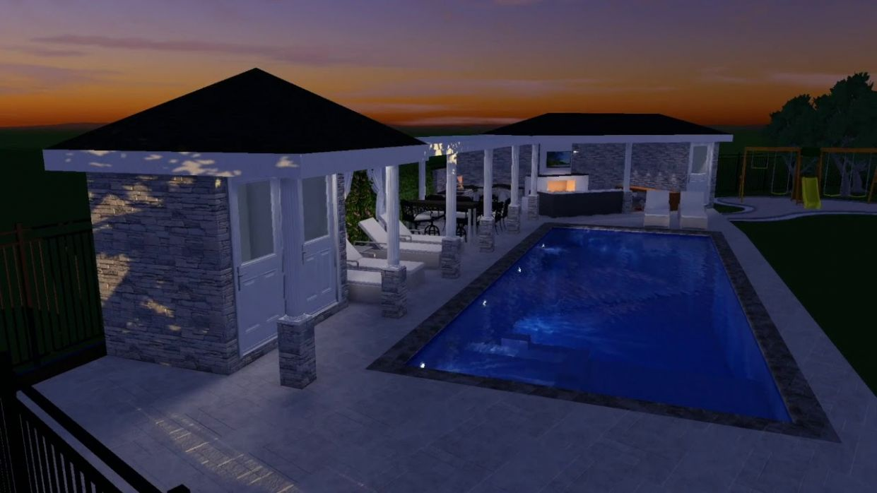 Modern backyard - luxury landscaping & swimming pool ideas