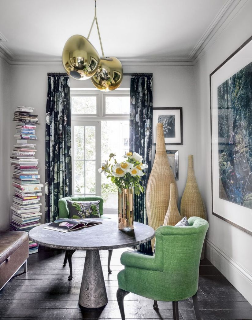 Modern Home Office with Green Armchairs and Round Table (With ..