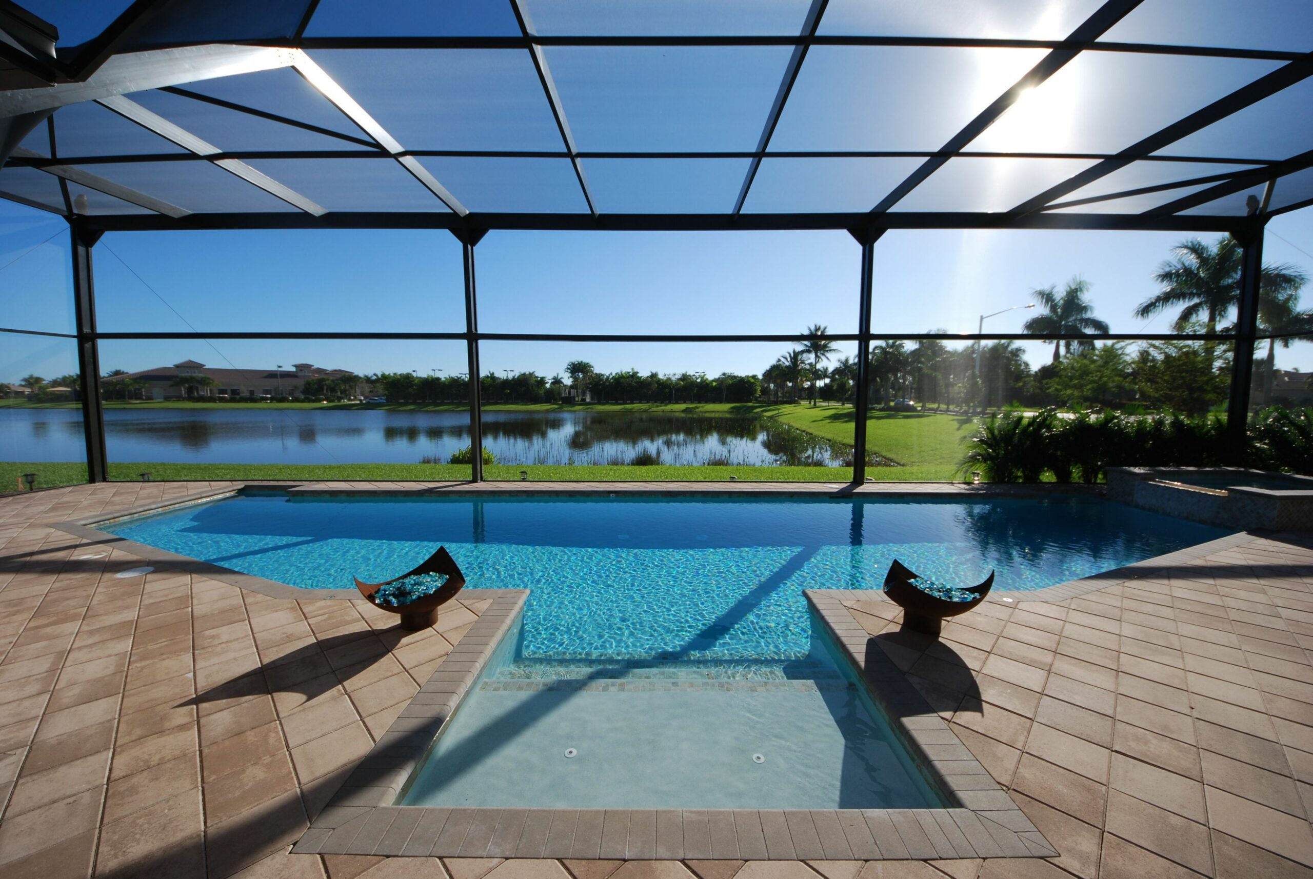 modern pool enclosure with picture windows (With images) | Pool ..