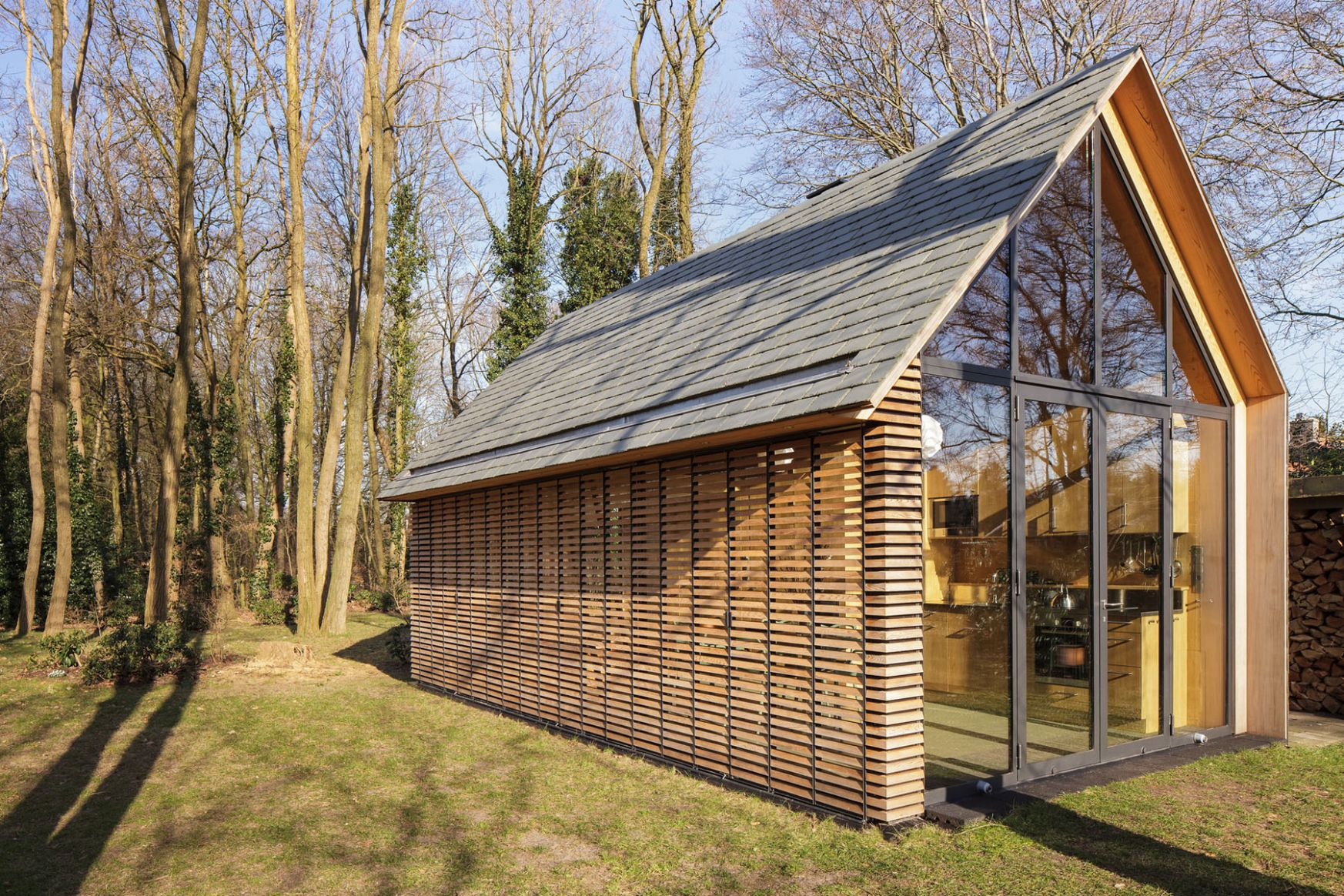 Modern Small Country Cottage With Wooden Shutters In The ..