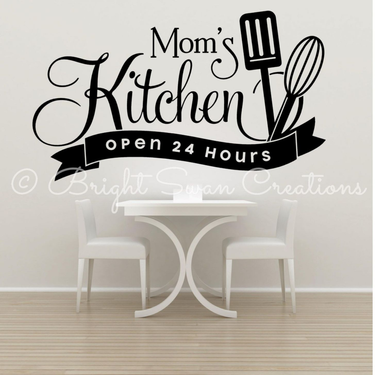 Moms kitchen open 12 hours vinyl decal, kitchen wall decor, love ..