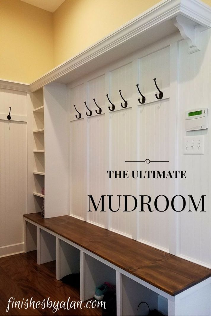 Mudroom build-out with 9 inch shelf, 9 inch pine bench (stained ..