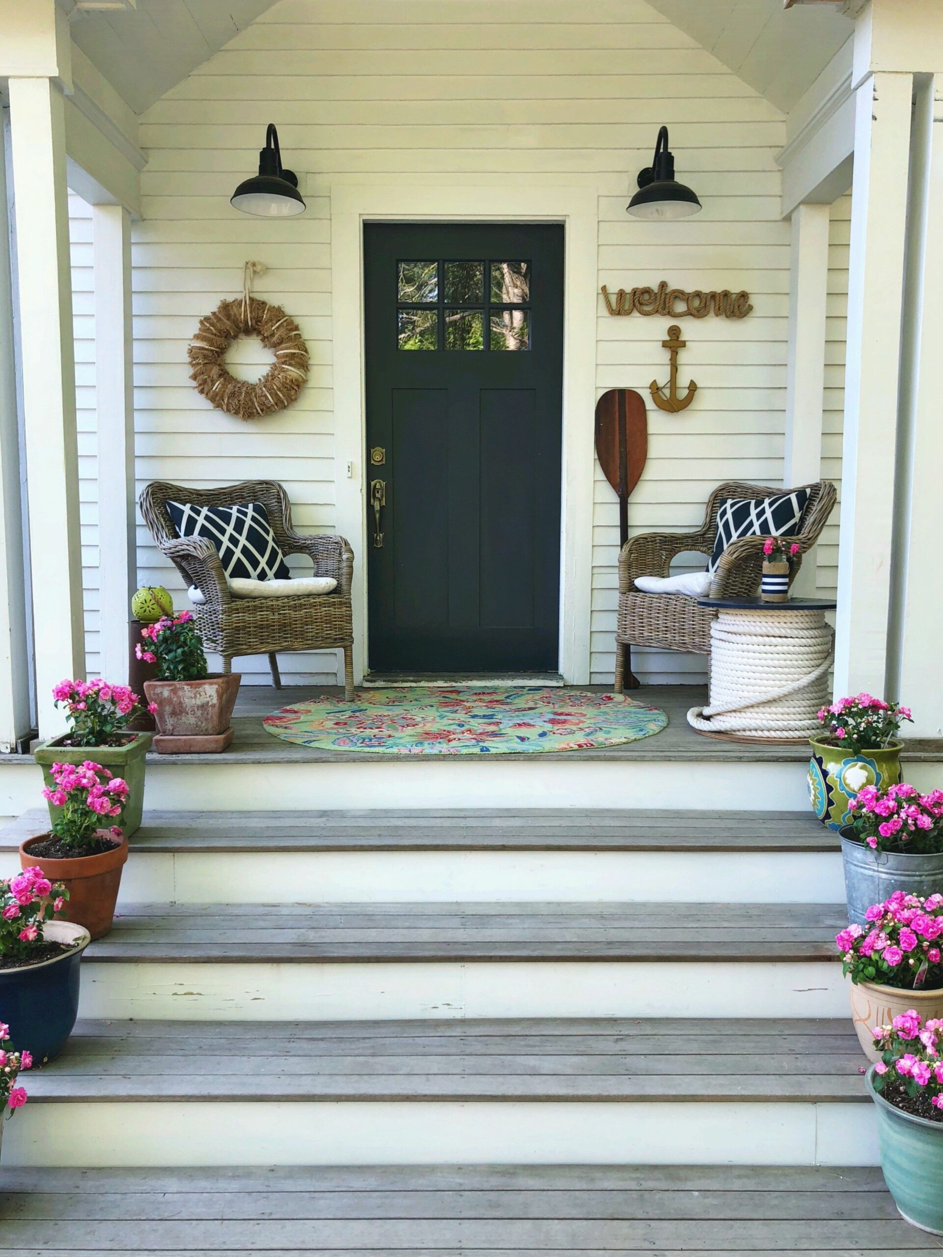 My Front Porch at the Beach House (With images) | Beach porch ..