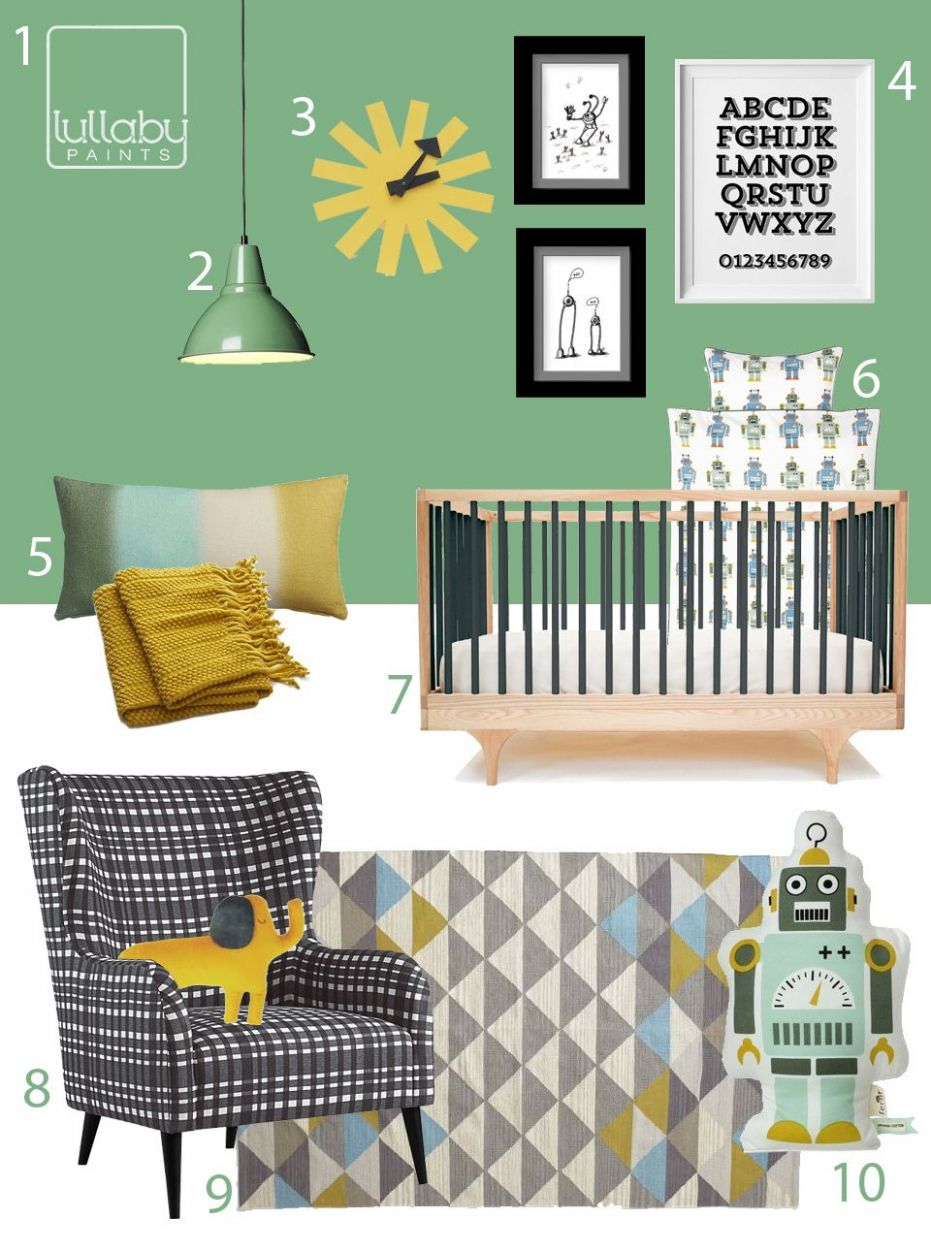 My Modern Nursery 9: Green and Yellow, Black and White robot ..
