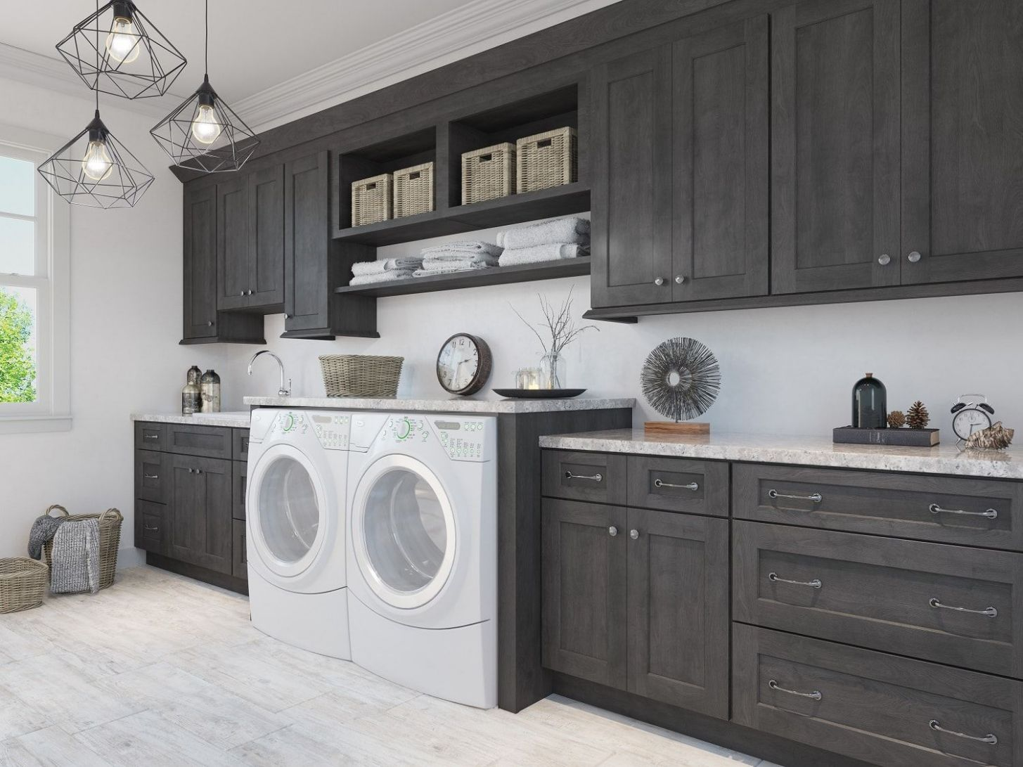 Natural Grey Shaker Pre-Assembled Laundry Room Cabinets - The RTA ...
