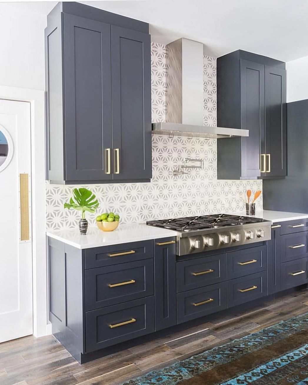 Navy blue cabinets, Stone Textiles Kitchen (With images) | Kitchen ...