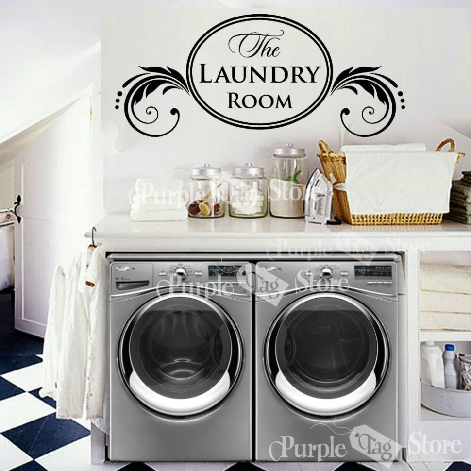 New 10 Laundry Vinyl Wall Decal Housewife Housekeeper Laundry ...