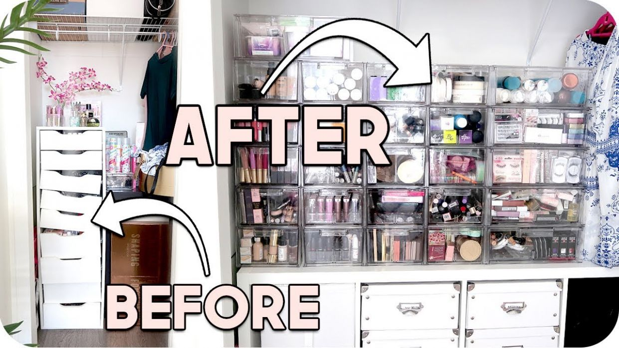 Office Organization! Makeup Collection + Filming Room! - makeup room organization