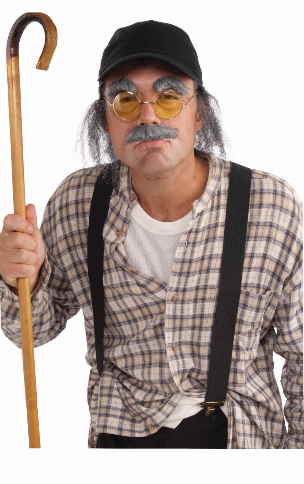 Old Man Costume Kit Hat With Fake Hair Moustache Eyebrows Glasses ..