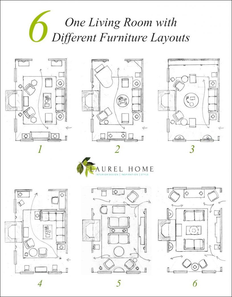 One Living Room Layout - Seven Different Ways! | Laurel Home - 15 x 18 living room ideas