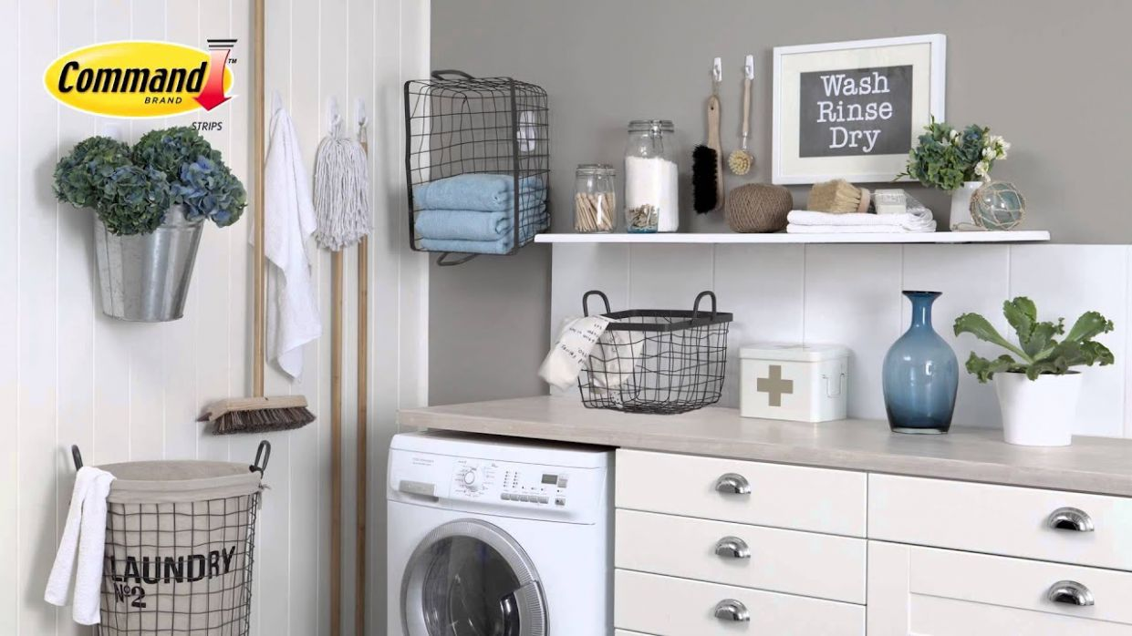 Organise your utility room with Command™ Hooks - laundry room hook ideas
