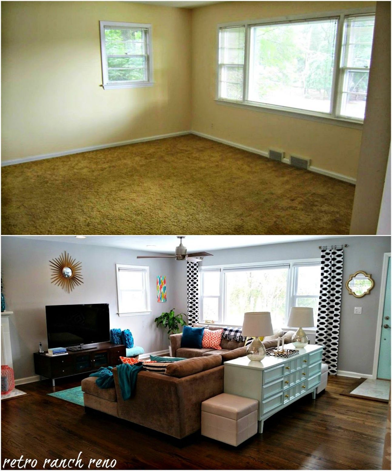 Our Rancher: Before & After - The Living Room. | Small living room ...