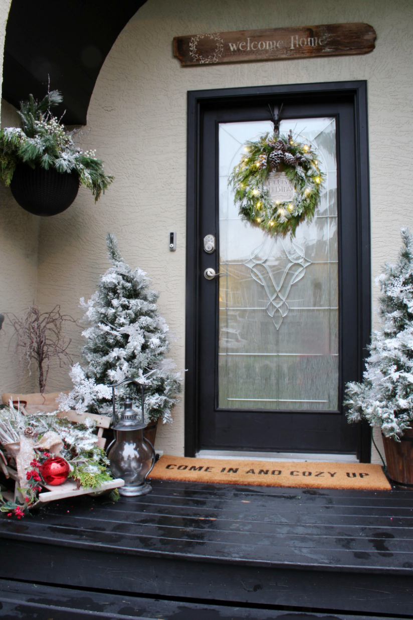 Our Winter Wonderland Christmas Front Porch - Clean and Scentsible - front porch tree decor