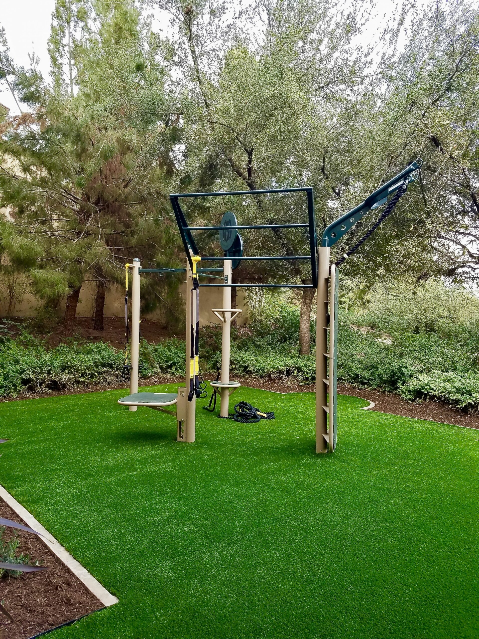 Outdoor gym for golf community fitness area. Utilizing the custom ..