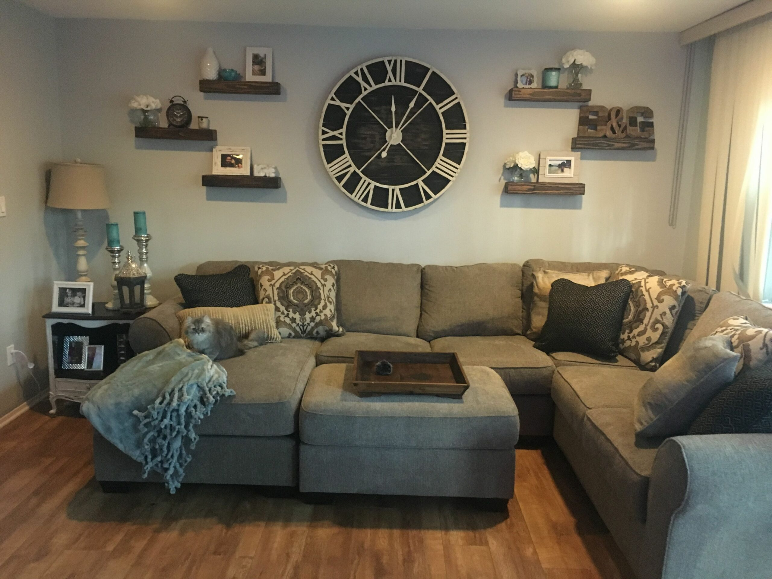 Oversized wall clock with floating shelves | Wall clocks living ..