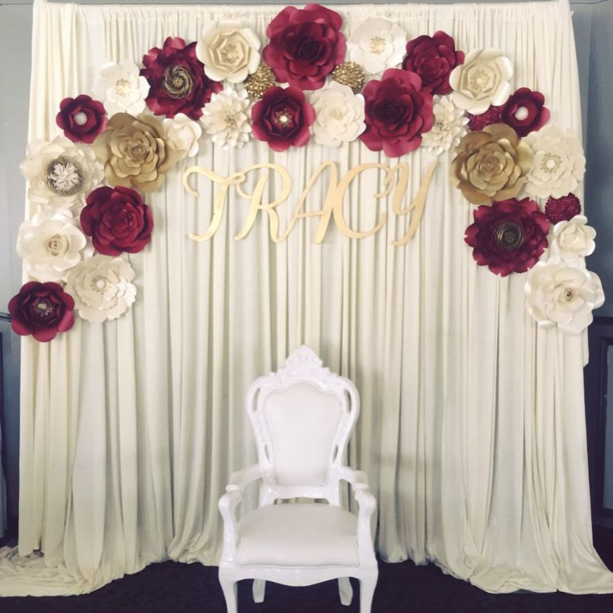 Paper flower backdrop burgundy and gold theme, engagement party ...