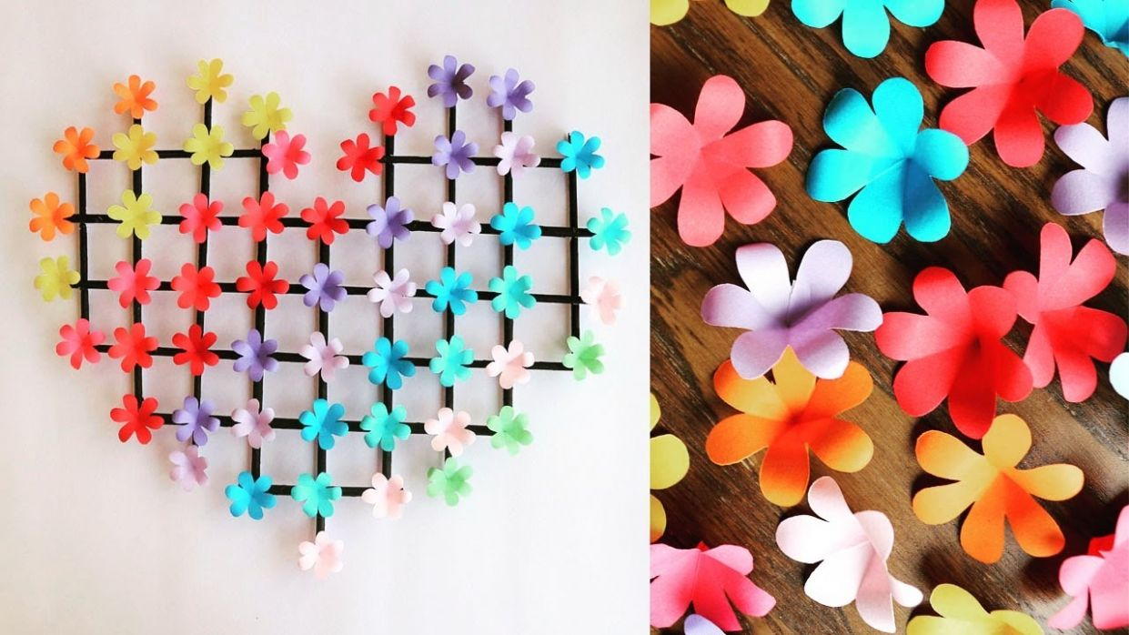 Paper Flower Wall Hanging- Easy Wall Decoration Ideas – Paper craft – DIY  Wall Decor