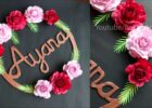 Paper Flower Wall Hanging With Name- Easy Wall Birthday Decoration Ideas -  Paper craft