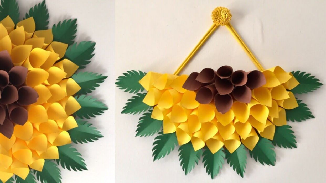 PAPER WALL HANGING DIY | PAPER SUNFLOWER WALL HANGING IDEAS | WALL ...