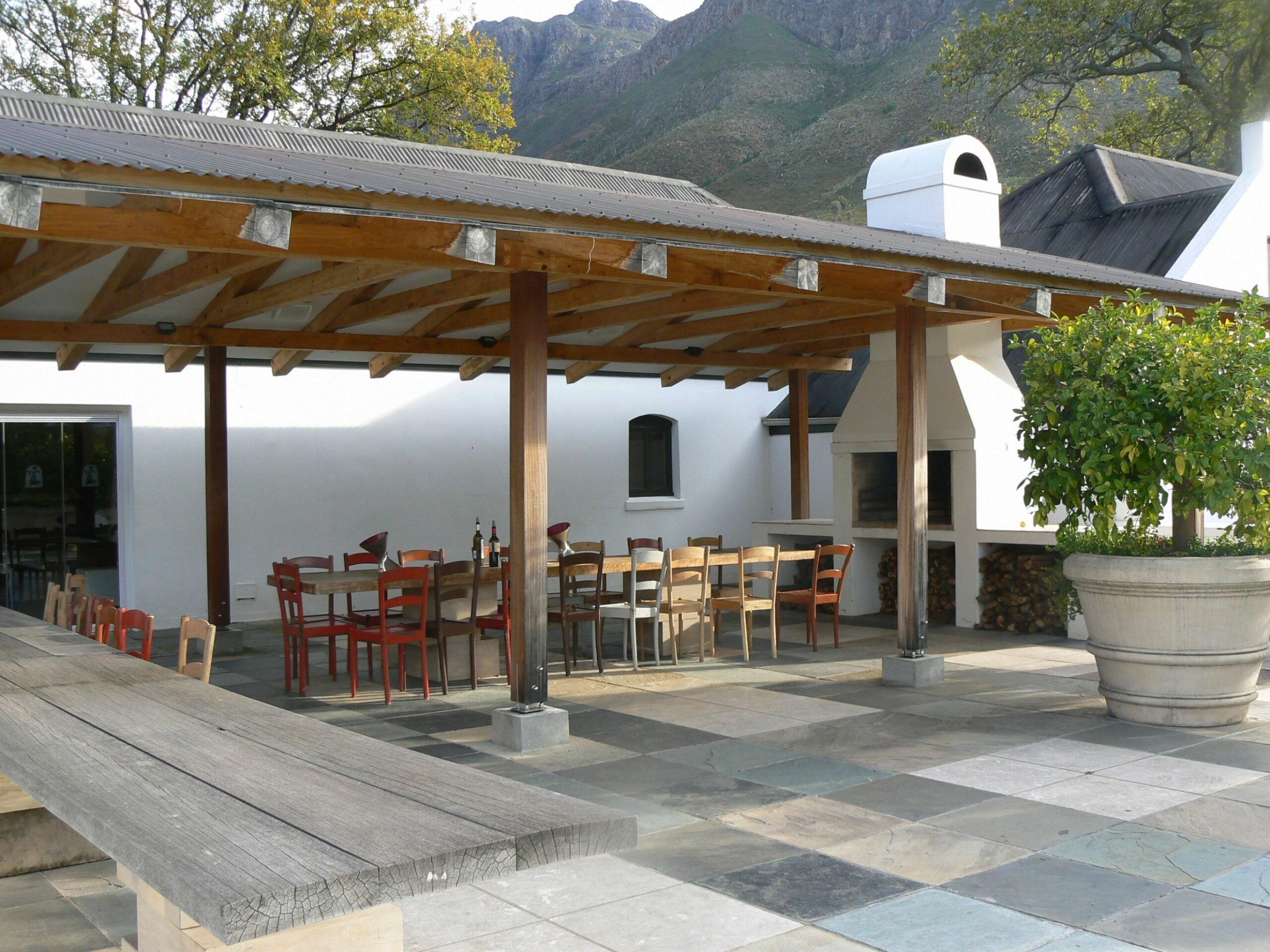 Patio at Boekenhoutskloof in Franschhoek, South Africa. Photo from ..