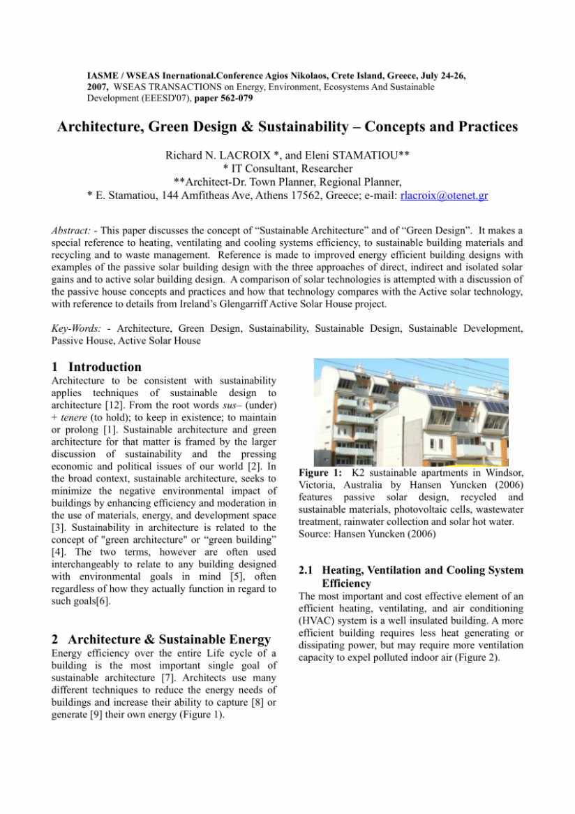 PDF) Architecture, Green Design & Sustainability-Concepts and ...