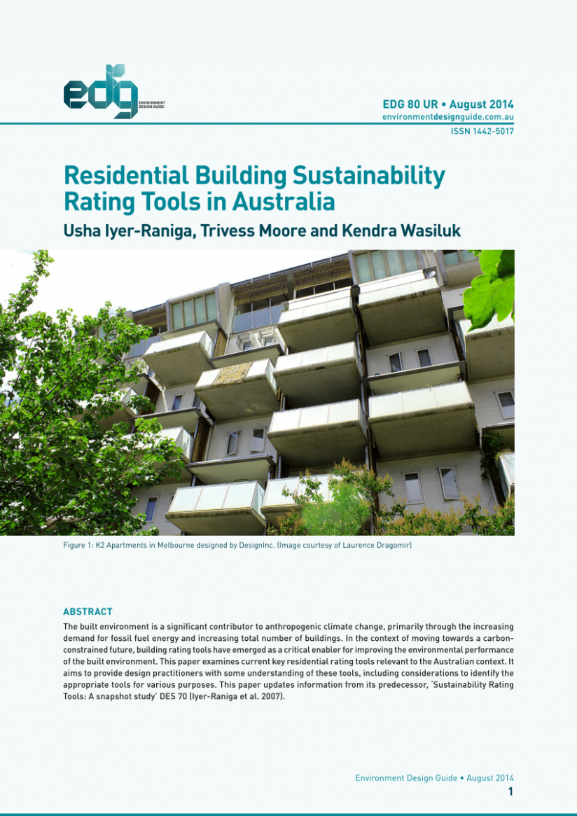 PDF) Residential Building Sustainability Rating Tools in Australia