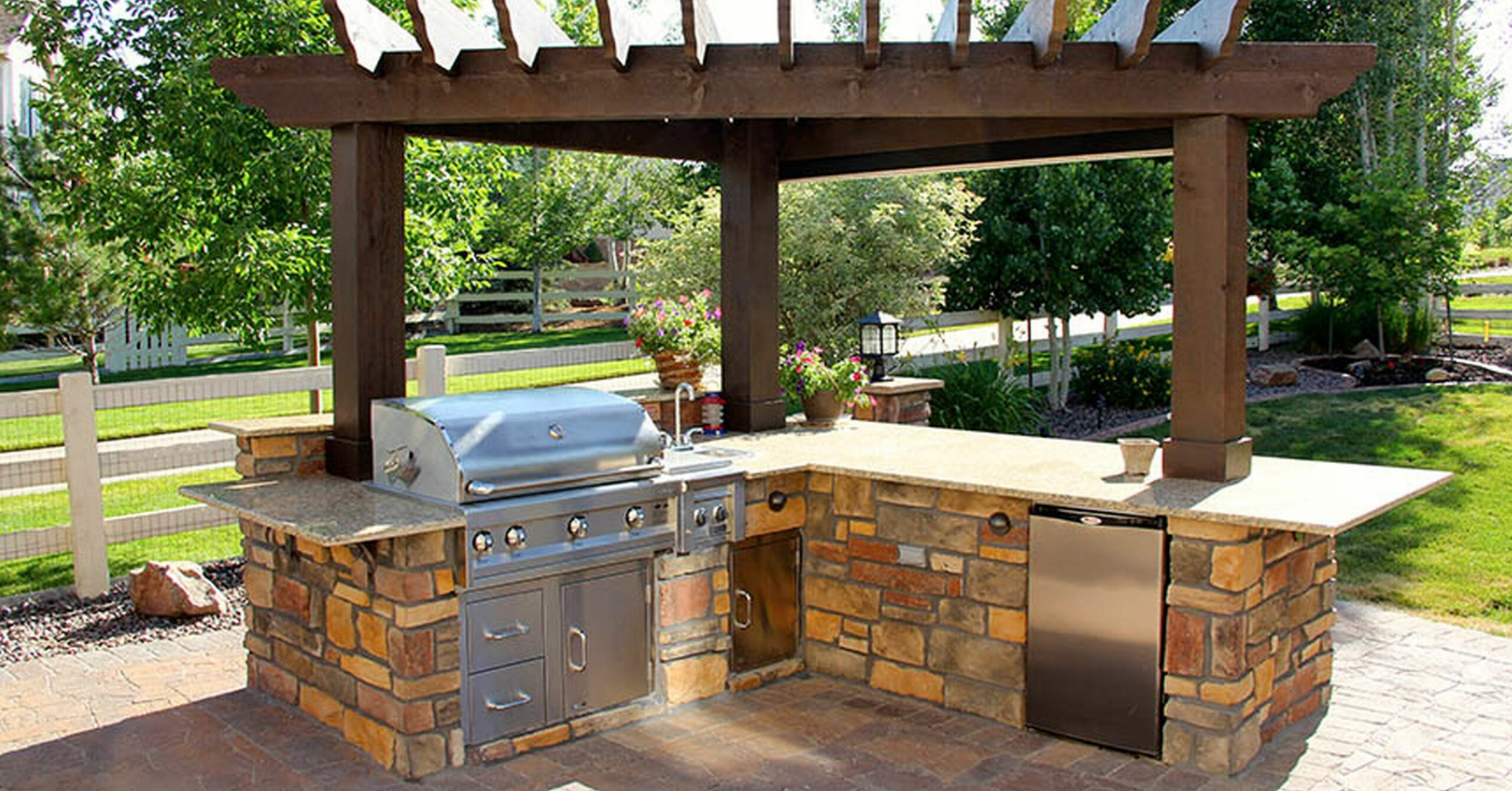 Pergola Design Magnificent Outdoor Pool And Kitchen Ideas Small ..