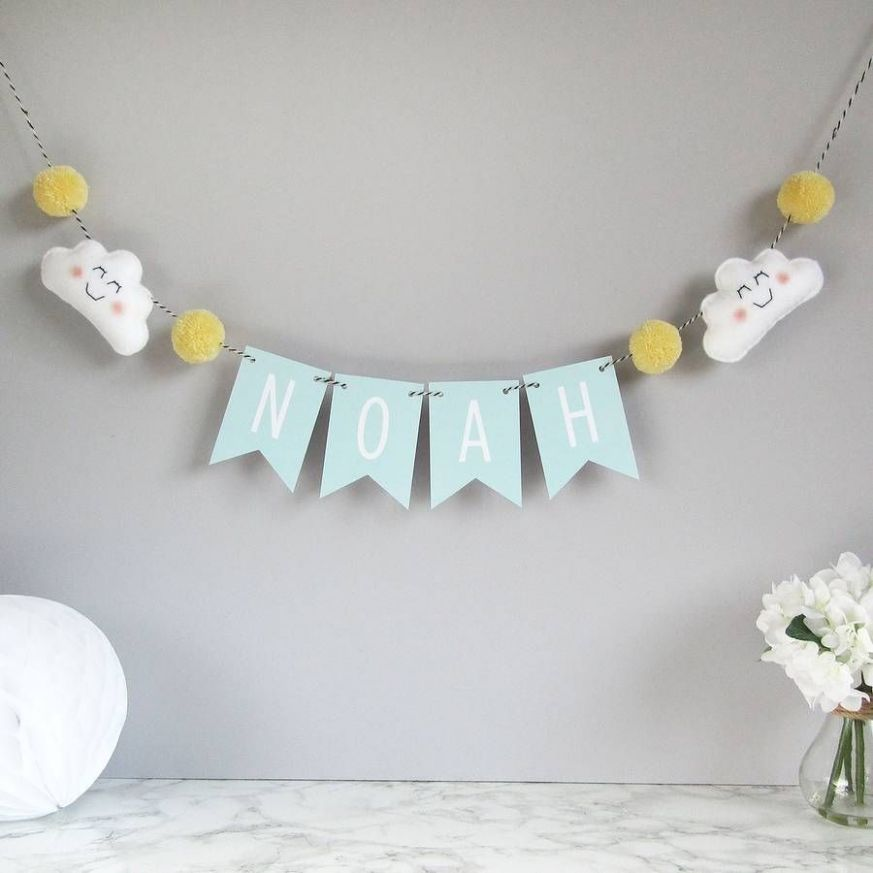 Personalised cloud name bunting with mini pom poms | Name bunting ...