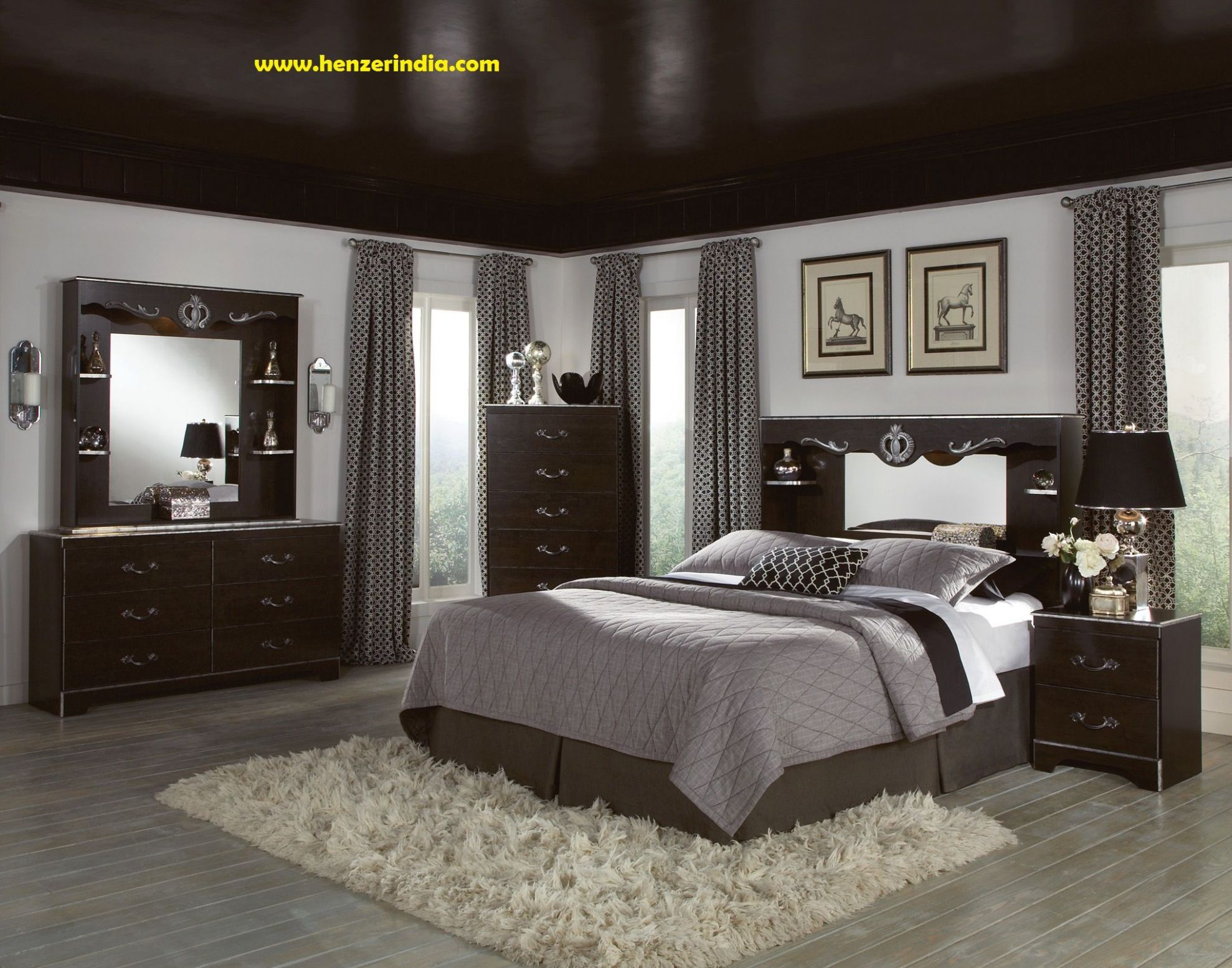 Pin by Henzer India on HENZER INDIA | Gray master bedroom, Dark ..