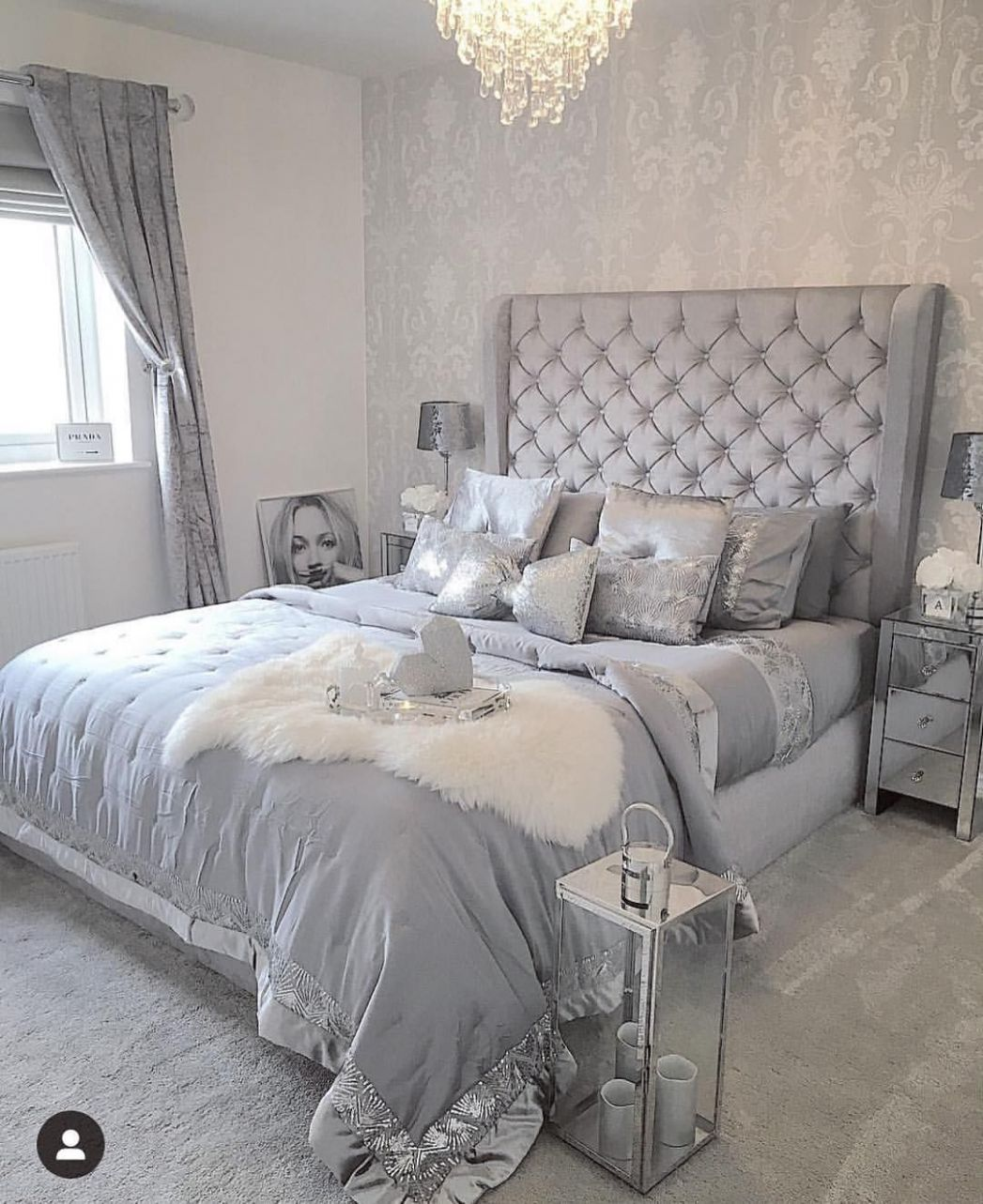 Pin on *Always Kiss Me Goodnight* - bedroom ideas silver