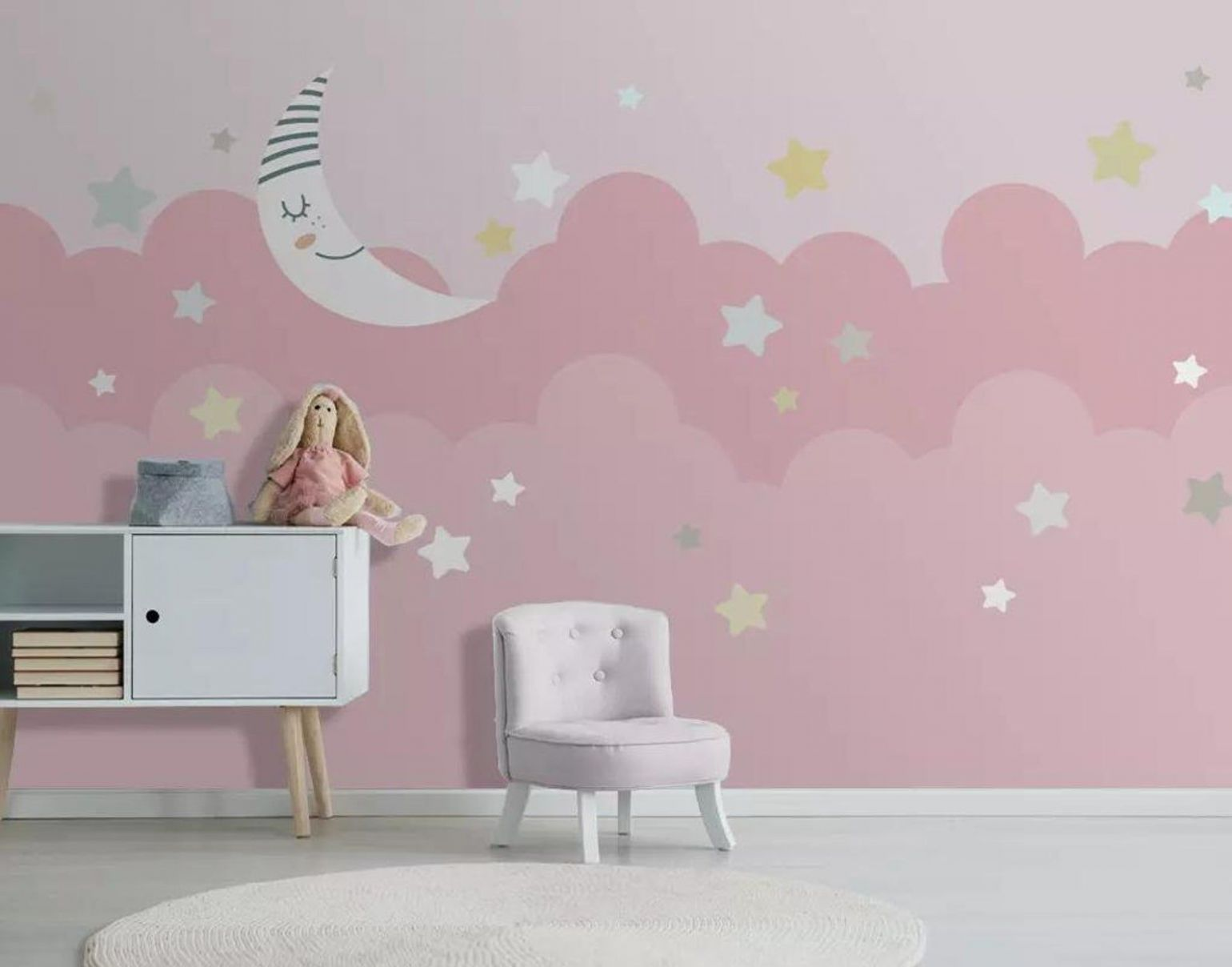 Pink clouds background wallpaper for nursery bedroom baby moon and ..