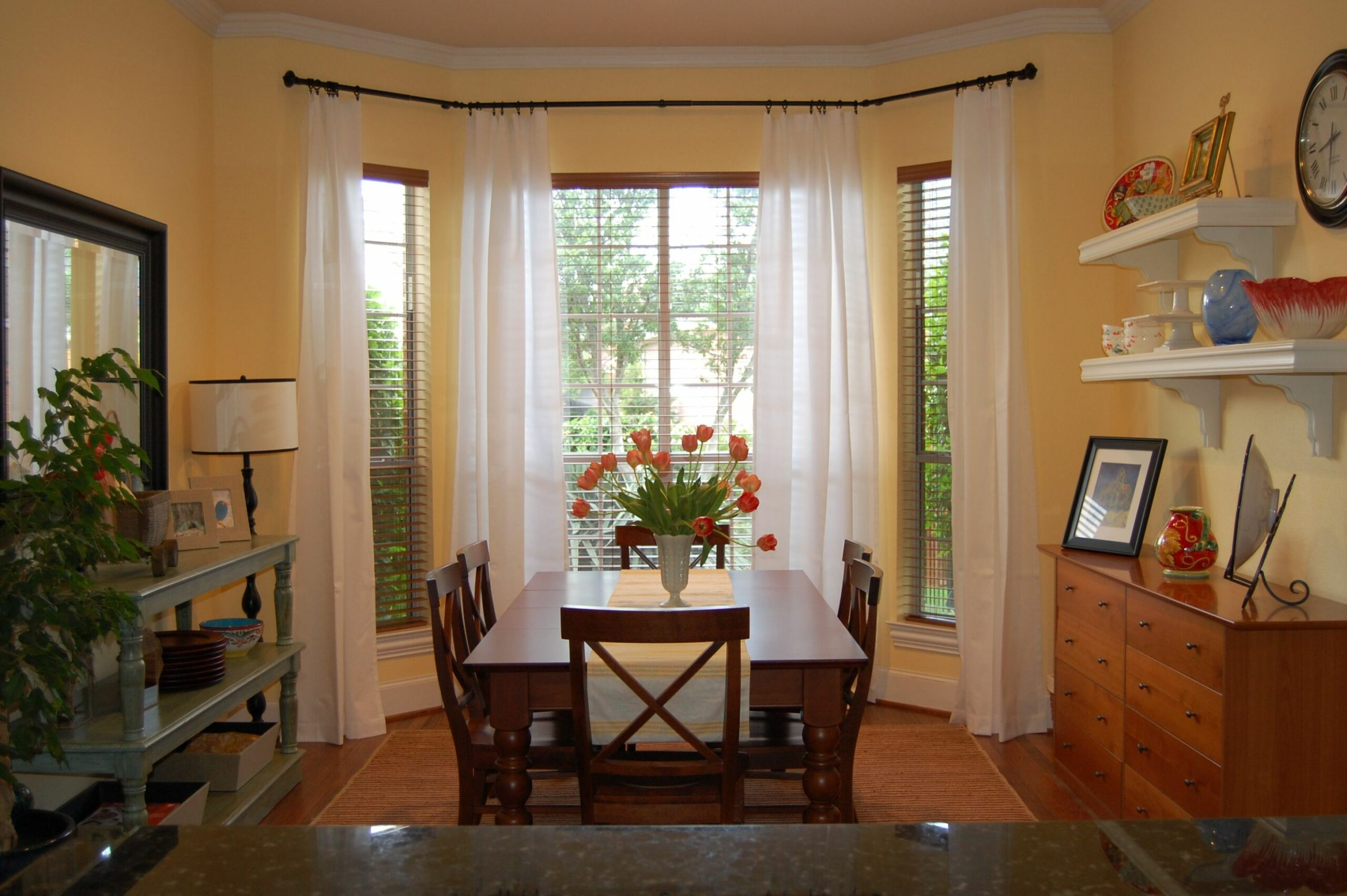 Pleasant Triple White Dining Bay Window Curtain Ideas With Vintage ...