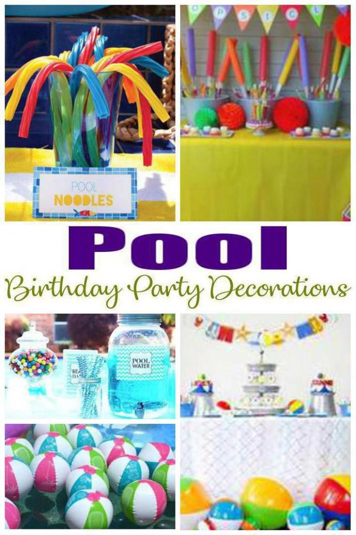 Pool Birthday Party Decorations (With images) | Pool birthday ...